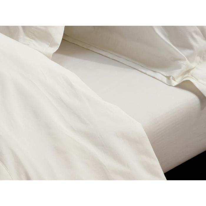Drap housse percale cru 140x190 cm noces de coton achat for Drap housse en percale de coton