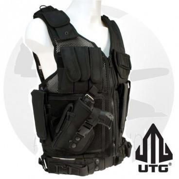 gilet tactique noir avec holster version gaucher prix pas cher cdiscount