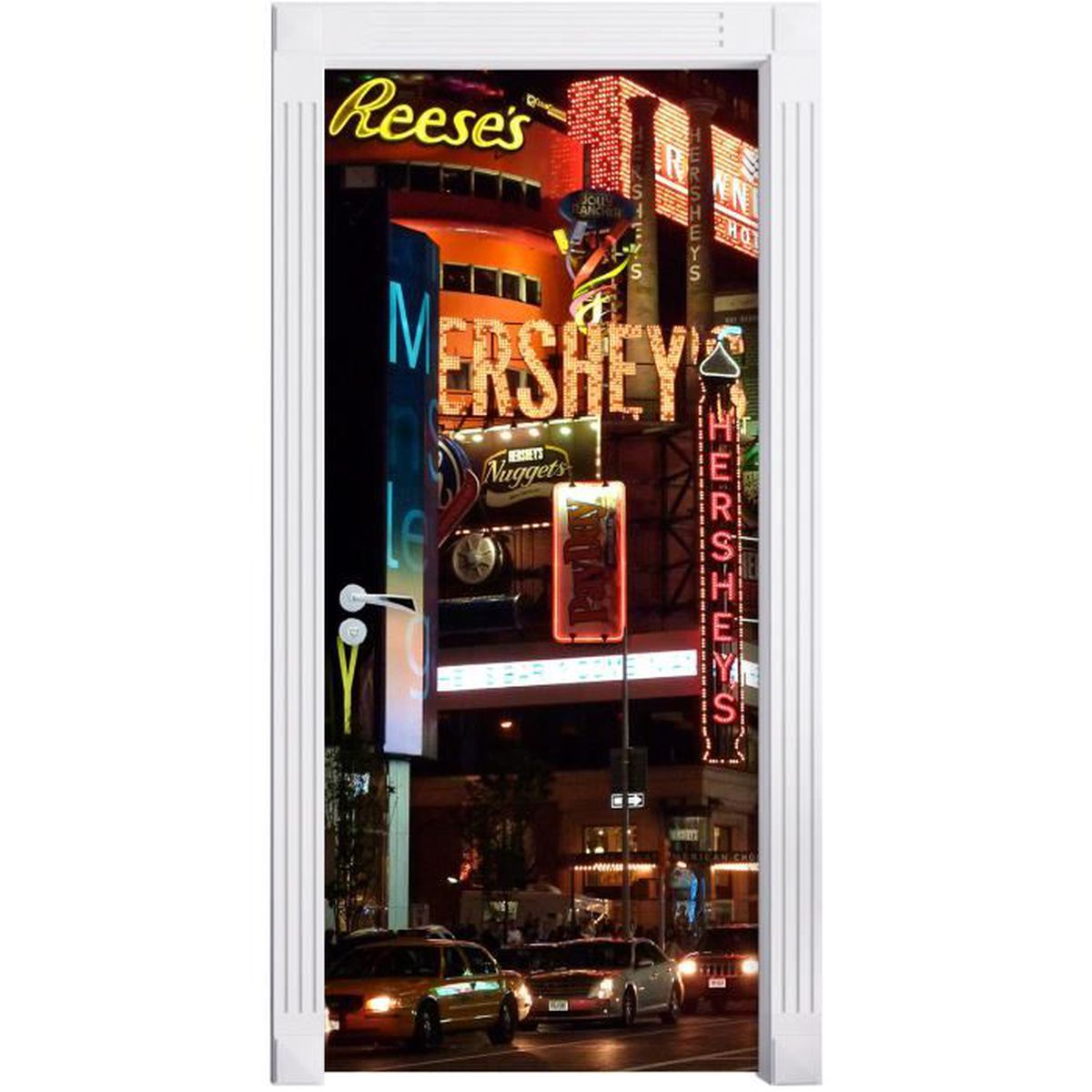 Hershey new york mural format 200x90cm cadre de porte for Autocollant mural new york