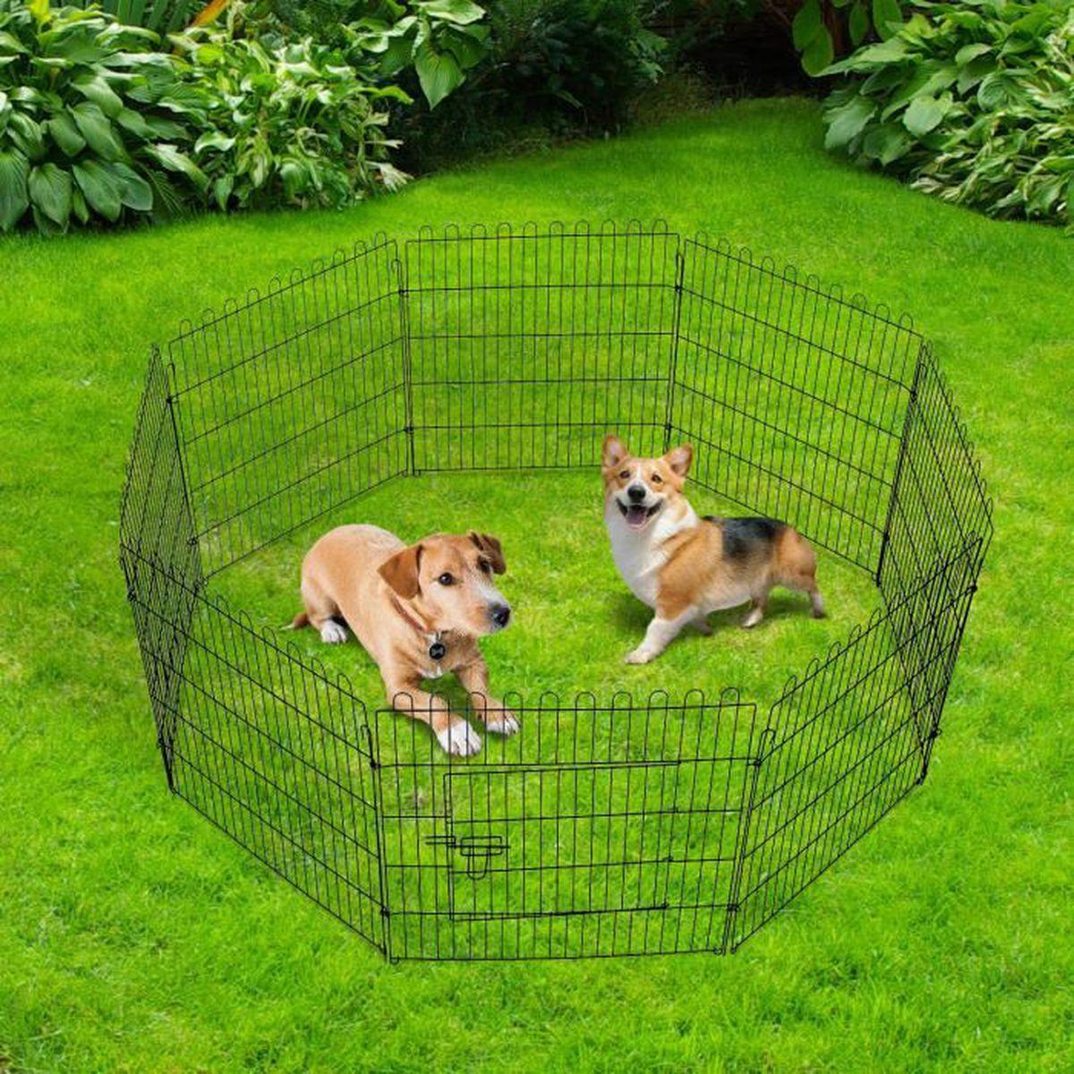 parc enclos pour chiens chiots animaux domestiques diam tre 158cm 8 panneaux 71l x 61hcm noir. Black Bedroom Furniture Sets. Home Design Ideas