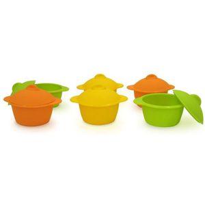 YOKO DESIGN Lot de 6 baby cocottes ?7 cm orange, jaune et vert