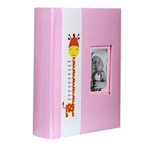 COFFRET CADEAU SOUVENIR Album Photo Naissance à pochettes Giraffe Rose pou