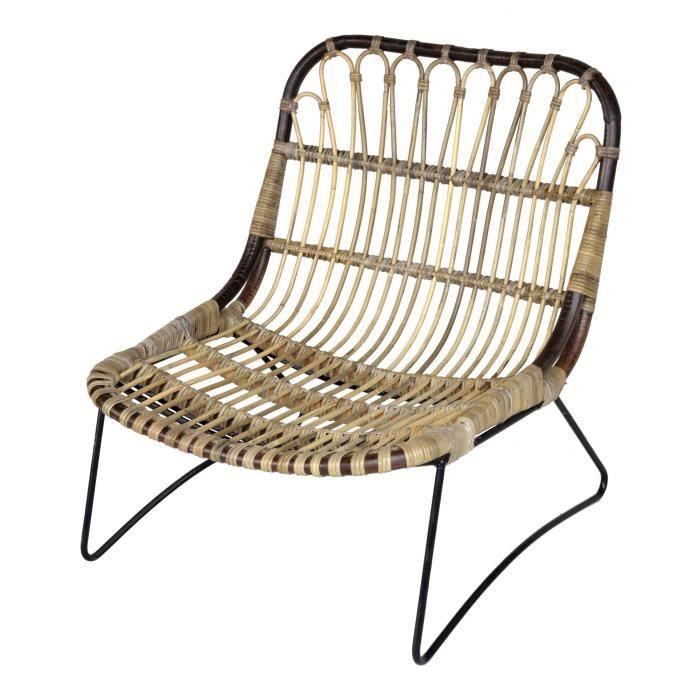 h loise fauteuil en rotin et m tal esprit vintage achat vente fauteuil cdiscount. Black Bedroom Furniture Sets. Home Design Ideas