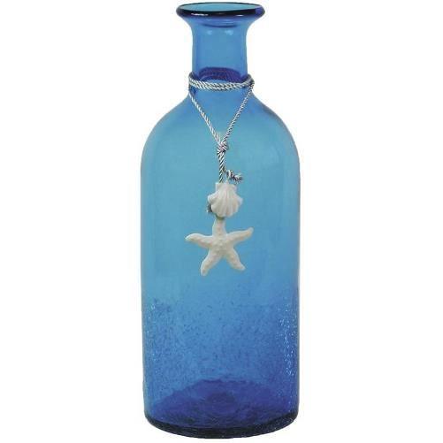 vase bouteille en verre teint bleu achat vente vase soliflore cdiscount. Black Bedroom Furniture Sets. Home Design Ideas