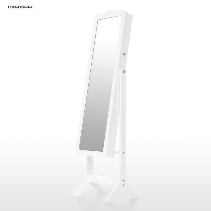 Fashion armoire cabinet avec miroir blanc bijoux verrouillable bo te de ran - Meuble miroir avec rangement pour bijoux ...