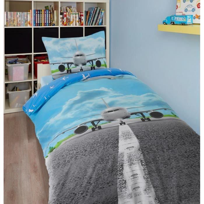 housse de couette avion achat vente housse de couette cdiscount. Black Bedroom Furniture Sets. Home Design Ideas