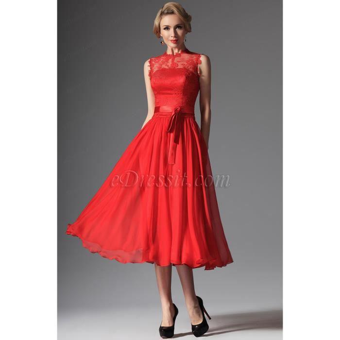 Robe de Cocktail mariée Rouge Col Haut en dentelle Rouge - Achat ...