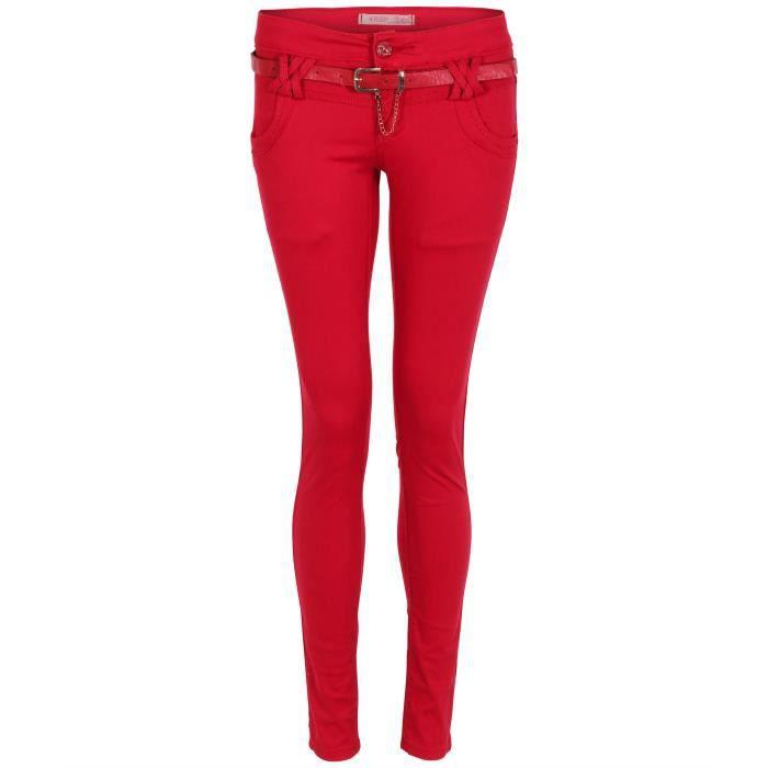 pantalon pantalon femme stretch slim skin rouge. Black Bedroom Furniture Sets. Home Design Ideas