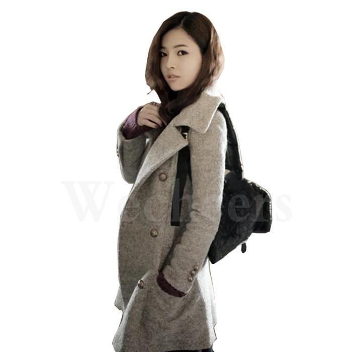 manteau d 39 hiver manteau de laine femme chaude parka gris achat vente manteau caban cdiscount. Black Bedroom Furniture Sets. Home Design Ideas