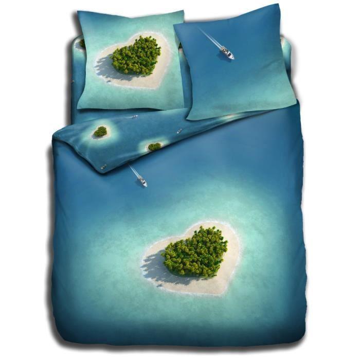 housse de couette imprim e ile de coeur 240x220 cm achat vente parure de drap cadeaux de. Black Bedroom Furniture Sets. Home Design Ideas