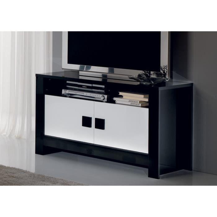 Meuble tv laqu pisi noir et blanc achat vente meuble for Meuble noir et blanc