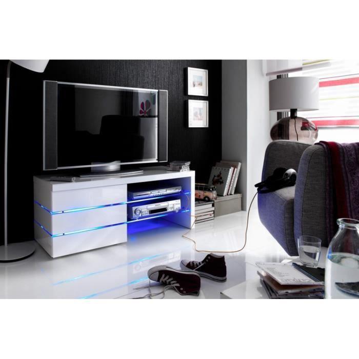 Meuble tv meuble de salon derby blanc laqu led achat vente meuble tv - Cdiscount meuble salon ...