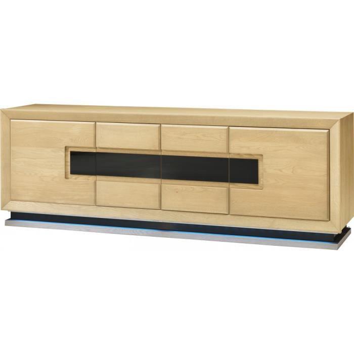 buffet ch ne clair 4 portes d cor et socle verre anthracite achat vente buffet bahut. Black Bedroom Furniture Sets. Home Design Ideas