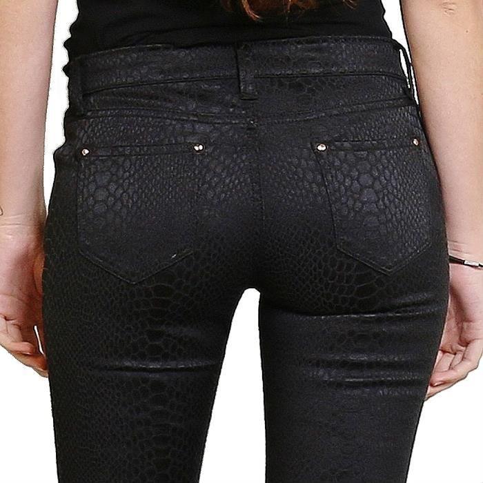 pantalon skinny femme jeans cuir slim push noir stretch sexy taille 42 noir noir achat vente. Black Bedroom Furniture Sets. Home Design Ideas
