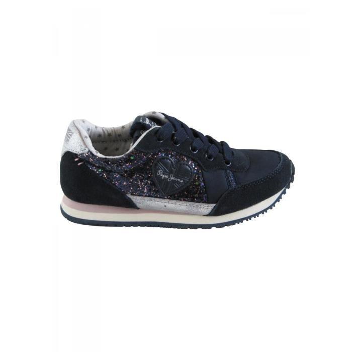 pepe jeans baskets lacets bleu marine paillettes ado fille pepe jeans bleu achat vente. Black Bedroom Furniture Sets. Home Design Ideas