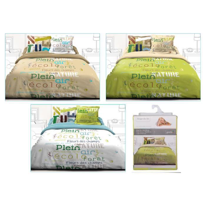 parure de lit 160 x 200 cm vert achat vente parure de drap cadeaux de no l cdiscount. Black Bedroom Furniture Sets. Home Design Ideas