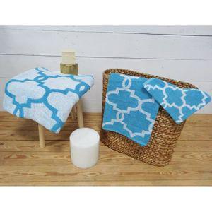 TODAY Parure de bain Mosaik 100% coton - 1 gant + 1 serviette + 1 drap de douche baltik