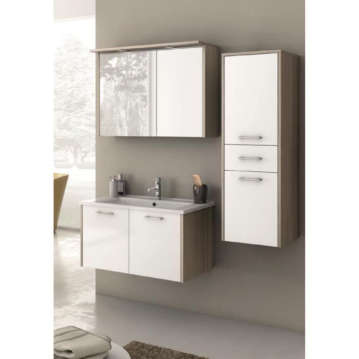 Andrea meuble pour salle de bains avec vier et miroir for Evier salle de bain avec meuble