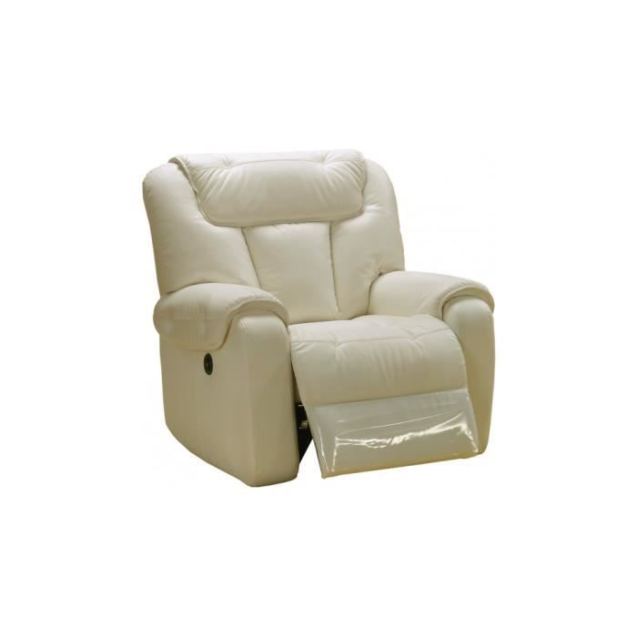 Fauteuil relax lectrique simba cuir beige achat vente fauteuil beige c - Fauteuil relax beige ...