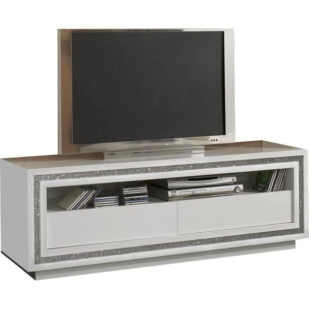 meuble tv blanc laqu design avec strass achat vente. Black Bedroom Furniture Sets. Home Design Ideas