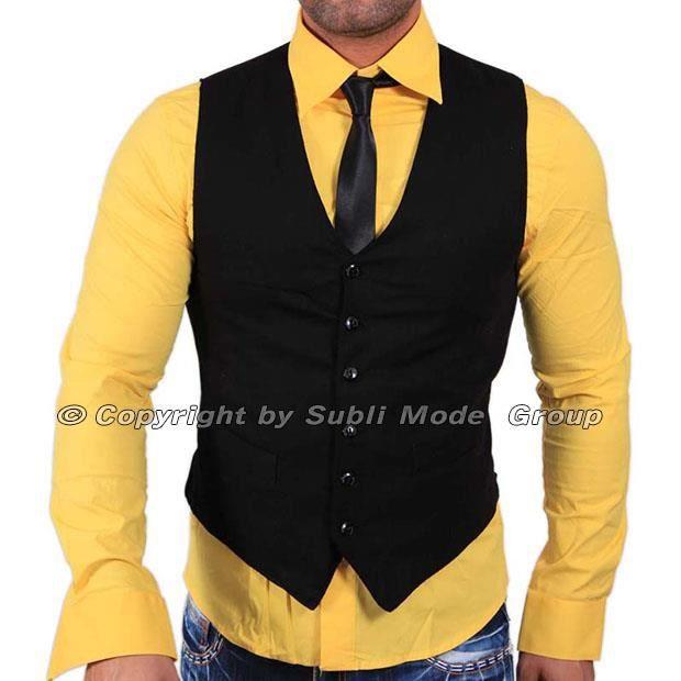 gilet chemise cravate homme noir jaune noir achat vente costume tailleur cdiscount. Black Bedroom Furniture Sets. Home Design Ideas