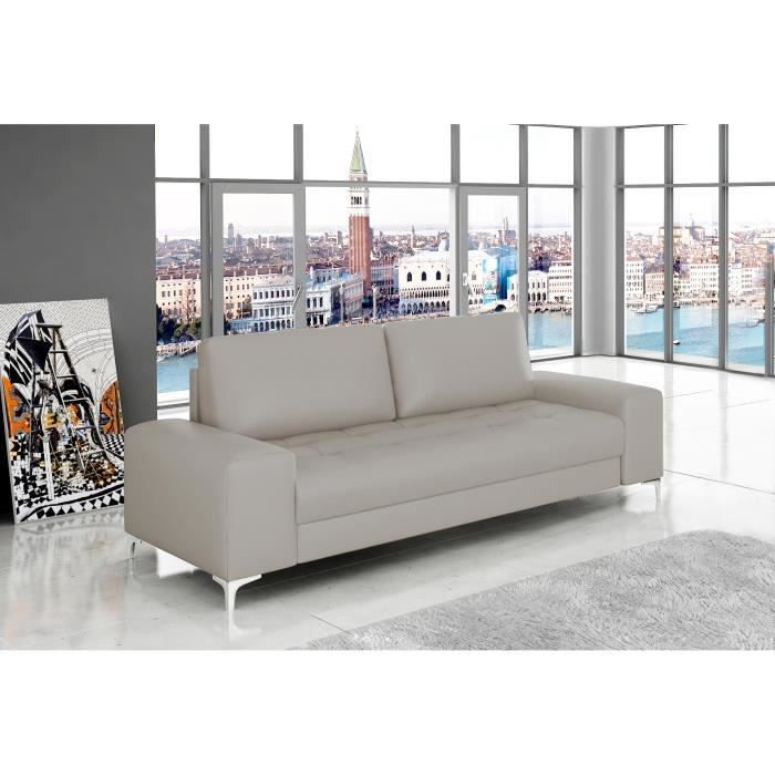 Canapé 3 places Antibes Cuir PU Taupe Achat Vente