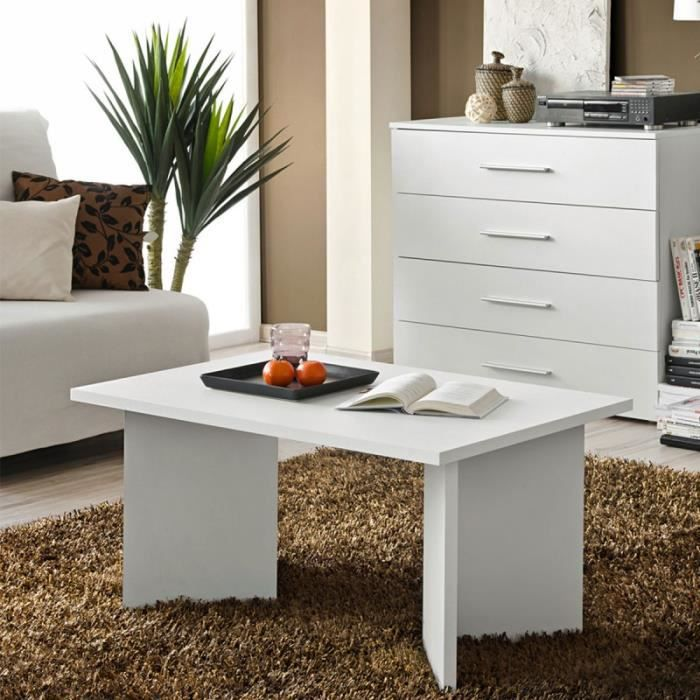 Paris prix table basse rectangulaire nano 90cm blanc for Table basse petit prix