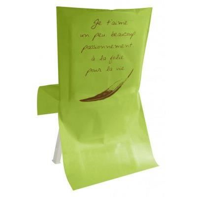 Housse de chaise mariage je t 39 aime vert anis achat vente housse de chaise cdiscount - Housse de chaise vert anis ...