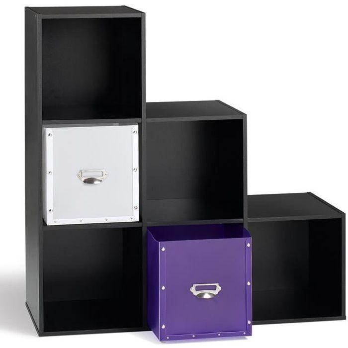 Compo meuble escalier 6 cases noir achat vente petit for Meuble cube 6 cases