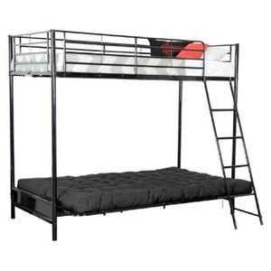 Mezzaclic lit 90 et 140 cm 1 matelas futon noir achat vente lit mezzani - Lit en hauteur 1 place ...