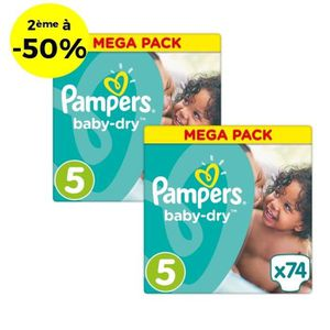 COUCHE PAMPERS Baby Dry Taille 5 - 148 couches - Lot de 2