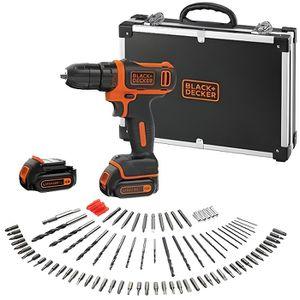 BLACK & DECKER Perceuse visseuse sans fil 10,8 V, 2 batteries, 100 accessoires et une mallette de transport en métal