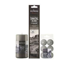 Lot senteurs santal blanc d'Australie comprenant une bougie cylindrique parfumée, 6 chauffes-plats parfumés et 20 bâtonnets d'encens.