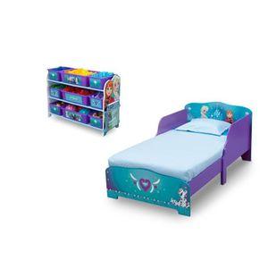 LA REINE DES NEIGES Chambre enfant en bois Lit et meuble de rangement