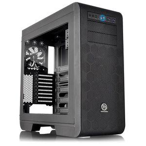 """Boitier Moyen Tour - Pour carte mère E-ATX, ATX, Micro ATX,Mini ITX - 8 slots d'extension - Ventilateurs 3x120mm - USB3.0/Audio HD - Baies d'emplacement 2x5.25"""" et 5x3.5""""/2,5"""" - Fenêtre Plexiglas sur porte latérale - Compatible Long. max. V"""