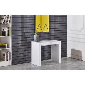 ZACK Table console extensible 10 personnes 45-250x90 cm - Laqué blanc