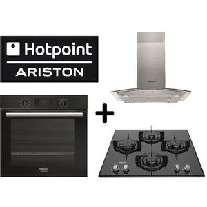 PACK cuisson HOTPOINT:FA2 540 P BL HA Four multifonction chaleur tournante+HHGC 6.4F AM X Hotte Inox+FRDD642/HA(BK)Table cuisson gaz