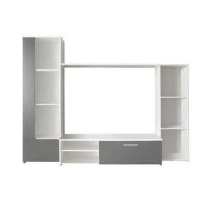 FINLANDEK Meuble TV mural PILVI contemporain blanc et gris - L 220 cm
