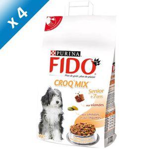 FIDO Croquettes aux Viandes, Céréales et Légumes - 3 kg (x4) - Pour chien senior