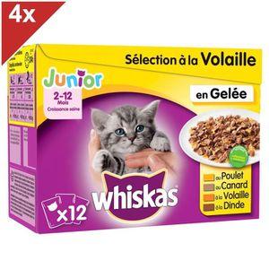WHISKAS Sélection aux viandes et aux poissons en gelée - Pour chat junior - 12x100g (x4)
