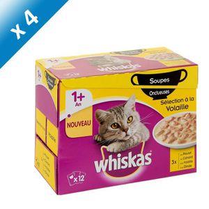 WHISKAS Soupe onctueuse de volaille - Pour chat - 12x85g (x4)