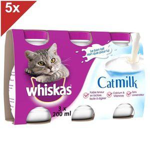 WHISKAS Lait - 3 x 200ml (x5) - Pour chat adulte et chatons