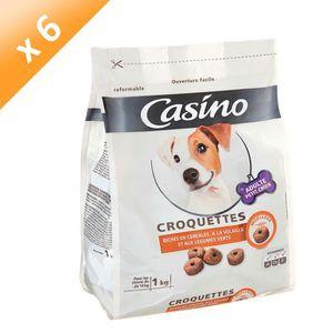 CASINO Croquettes moelleuses riches en céréales, ? la volaille et aux légumes verts - Pour petit chien - 1kg (x6)