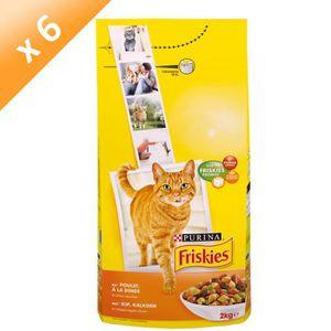 FRISKIES Croquettes au poulet, dinde et olives - Pour chat adulte - 2kg (x6)