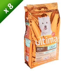 ULTIMA Croquettes Light Mini au poulet - Surcharge pondérale ou surpoids - Petite race - Pour chien adulte - 1,5kg (x8)