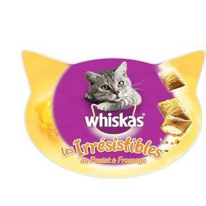 WHISKAS Friandises Les Irrésistibles au poulet et fromage - Pour chat adulte - 60g (x8)