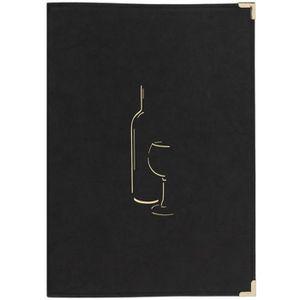 Carte des vins A4 noire 2 doubles inserts