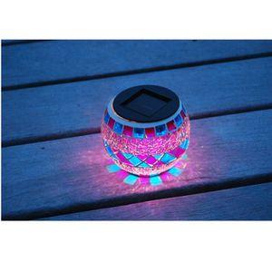 Lanterne solaire décorative, verre effet mosa?que