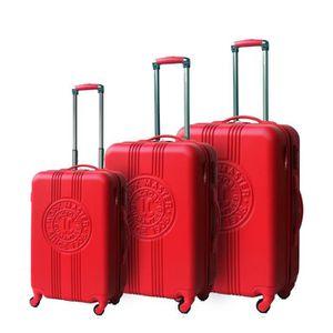 LEE COOPER Set de 3 Valises Rigide ABS 4 Roues 49-59-69cm PATCH Rouge