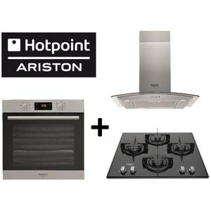 Pack cuisson HOTPOINT: FA2 540 P IX H Four chaleur tournante + HHGC 6.4F AM Hotte décorative + FRDD642/HA(BK) Table de cuisson gaz